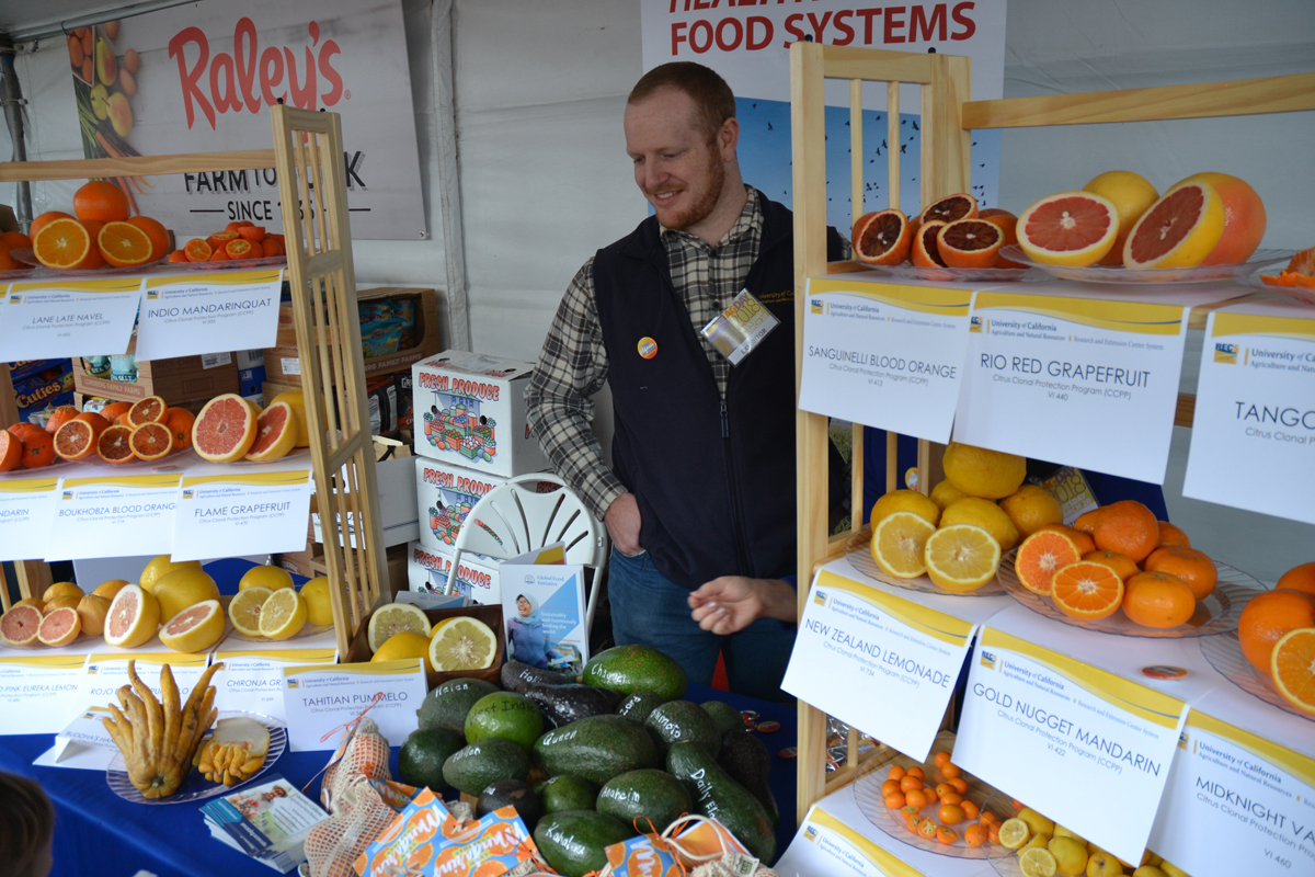 UC Agriculture and Natural Resources exhibit with various citrus fruits displayed
