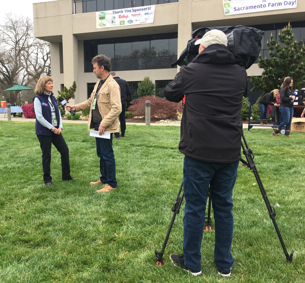 Several local TV stations came out to report on Farm Day