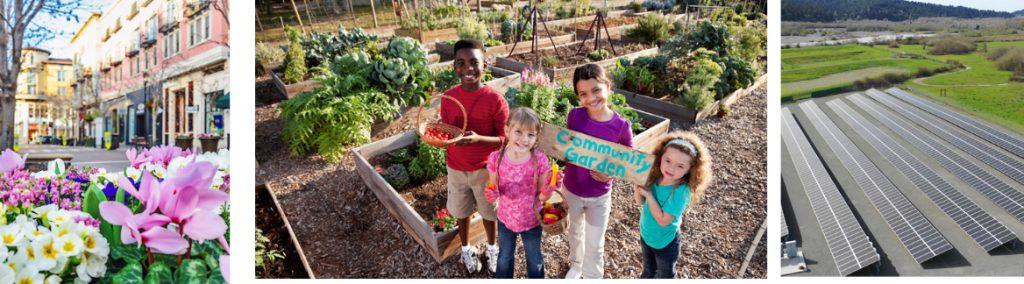 Montage of flowers, kids in a community garden, solar panels