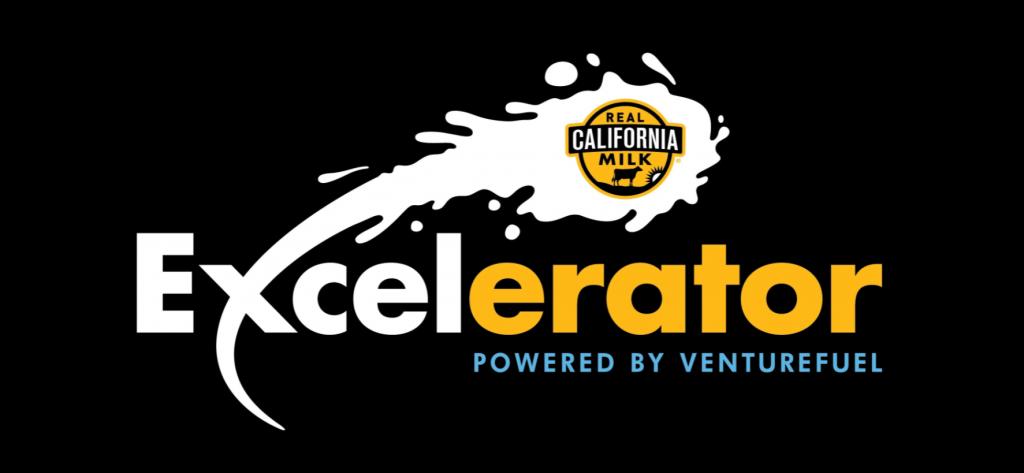 """Excelerator"" text logo with a splash of milk containing the""Real California Milk"" logo"